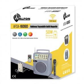 Alfon AFSA-16060 50W VHF 1 El Kablosuz Taşınabilir Anfili Hoparlör