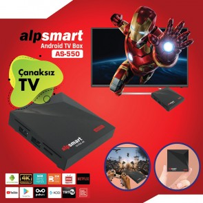 ALPSMART AS-550 4K 9.0 ANDROID 2GB DDR3 RAM DAHİLİ WİFİ MİNİ IP TV BOX