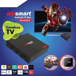 ALPSMART AS-560X2 4K 9.0 ANDROID 4GB DDR3 RAM DAHİLİ WİFİ MİNİ IP TV BOX