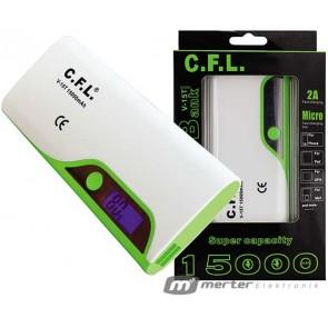 CFL V15T 15000 MA 1A-2A ÇİFT ÇIKIŞLI LCD EKRANLI POWERBANK