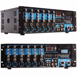DENOX DX-1162 FX 400 WATT-RD USB-SD-BT-FM 4-16 OHM 70-100V İKİ BÖL TRAFOLU MİXER ANFİ