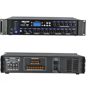 DEXUN D-500 350-700 W 100V/70V/4-16 OHM USB/SD/BT 6 BÖLGELİ 3 MİK 3 AUX GİRİŞLİ TRAFOLU MIXER ANFİ