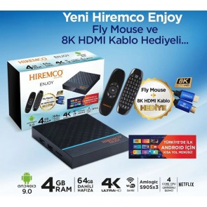 HIREMCO ENJOY ANDROID 9.0 BOX 4GB DDR3 RAM 64GB HAFIZA DAHİLİ WİFİ NETFLIX UYDU ALICISI ÇİFT KUMANDALI 8K KABLO HEDİYE