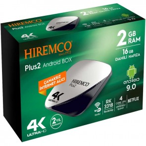 HIREMCO PLUS2 4K 9.0 ANDROID BOX 2GB DDR3 RAM 16GB HAFIZA DAHİLİ WİFİ NETFLIX UYDU ALICISI