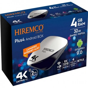HIREMCO PLUS4 4K 9.0 ANDROID BOX 4GB DDR3 RAM 32GB HAFIZA DAHİLİ WİFİ NETFLIX UYDU ALICISI