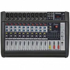 KÖNİG K-10P 500FX 2X250 500 W USB-10 KANAL POWER MIXER