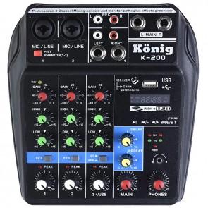KÖNİG K-200 USB-BT-DELAY-REPEAT 4 KANAL 48V PHANTOM MIXER-KONSOL
