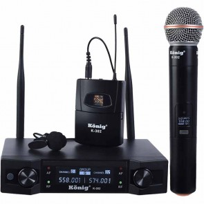 KÖNİG K-302-UHF-SABİT-ÇİFT KANAL 1 EL + 1 YAKA TELSİZ MİKROFON