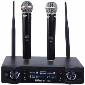 KÖNİG K-302 UHF-SABİT-ÇİFT KANAL 2 EL TELSİZ MİKROFON
