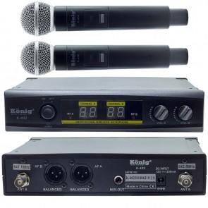 KÖNİG K-402 UHF/SABİT-ÇİFT KANAL 2 EL TELSİZ MİKROFON