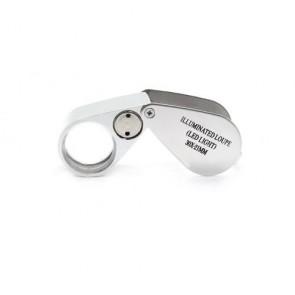 Kuyumcu ve Para Kontrol için Metal Işıklı Lüp Büyüteç 30x 21mm
