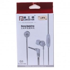 Langston Q3 Mikrofonlu Kulakiçi 3.5mm Stereo Telefon Kulaklığı - Gri