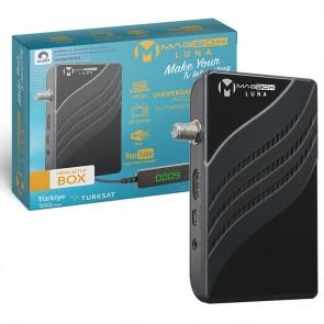 MAGBOX LUNA FULL HD YOUTUBE USB MİNİ HD UYDU ALICISI TKGSLİ (DISPLAY GÖZLÜ/KUMANDA-8525)(WİFİ 17287)