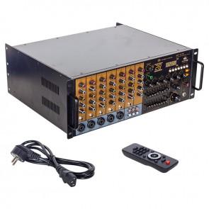 MAGICVOICE MV-1216 KÜP MİXER ANFİ USB BT UK RMS300W MAX 2400W 6 ZON +99DSP+4-16-70-100V TRAFOLU