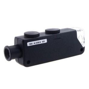 MG10081-1 Zoomlu Mini Cep Mikroskop Büyüteç 60x 100x Led Işıklı