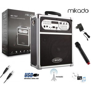 MIKADO MD-78KP SİYAH USB+FM DESTEKLİ BT/ KABLOSUZ MİK SEYYAR ANFİ