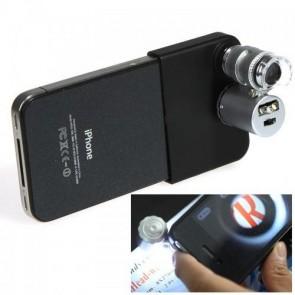 IPhone 5 için Taşınabilir Mikroskop Kapaklı Lens Ledli