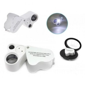 NO.9889 Işıklı Çift Lensli Lüp Büyüteç 60x 30x (Kuyumcu, Para Kontrol)