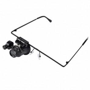 NO.9892A Gözlük Tipi Işıklı Monoküler Büyüteç 20x16mm Optik Lens