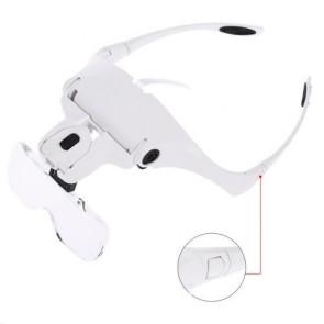 2 Led Işıklı Gözlük Tipi Büyüteç 5 Farklı Lens
