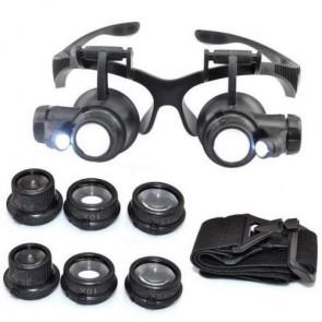 NO.9892G Gözlük Tipi Büyüteç 10x 15x 20x 25x Led Işıklı Tamirci İçin