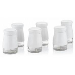 Porio Beyaz 6Lı Cam Baharatlık Seti