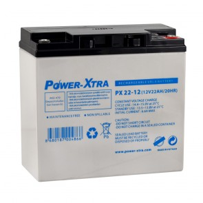 Power-Xtra PX22-12NE F6/ 12V 22 Ah Elektrikli Bisiklet Aküsü (F6/Vidalı)