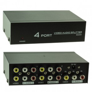 POWERMASTER AV-104*S-LINK SL-14AV 4 PORT VIDEO AUDIO SPLITTER