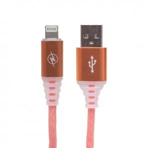 POWERMASTER ÖRGÜLÜ RGB IŞIKLI IPHONE LIGHTNING USB DATA VE ŞARJ KABLOSU 1 METRE