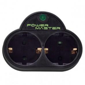 POWERMASTER PM-16916 16A - 3500W 2Lİ AKIM KORUMALI PRİZ SİYAH