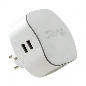 POWERMASTER PM-17593 ÇİFT USBLİ KABLOSUZ ÜÇLÜ OVAL AKIM KORUMALI PRİZ  (16A-3500W-USB 5V-2.1A)