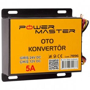 POWERMASTER PM-7896 24V DC / 12V DC 5 AMPER OTO KONVERTÖR