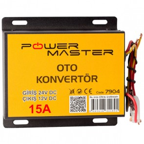 POWERMASTER PM-7904 24V DC / 12V DC  15 AMPER OTO KONVERTÖR