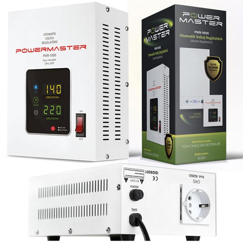 POWERMASTER PWR-1000 OTOMATİK VOLTAJ REGÜLATÖRÜ 1000VA (KOMBİ REGÜLATÖRÜ)