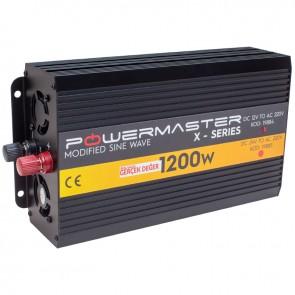 POWERMASTER PWR1200-12 TEK DIGITAL EKRAN 12 VOLT 1200 WATT MODIFIED SINUS WAVE İNVERTER