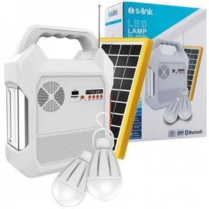 S-LINK SL-8699 FM-CD CARD-USB-BLUETOOTH SOLAR PANEL-LED LAMBA TAŞINABİLİR ŞARJ EDİLEBİLİR GÜNEŞ PANELLİ IŞILDAK