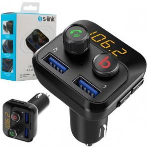 S-LİNK SL-BT234 BLUETOOTH 5.0 32GB LED EKRAN USB-BT-TF ÇİFT USB 3.4A FM TRANSMİTTER