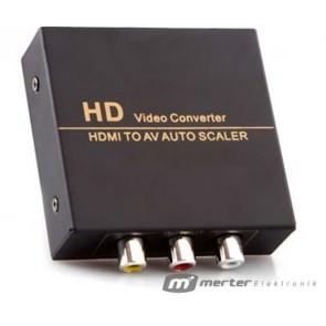 POWERMASTER PM-33523 HDMI TO RCA AV ÇEVİRİCİ ADAPTÖR METAL KASA