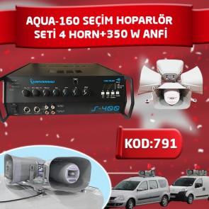 SEÇİM HOPARLÖR SETİ(4 HORN+350 W ANFİ) AQUA-160 4 LÜ SET