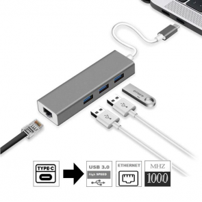 Sunline 1706903 Type C 3X USB 3.0-1X RJ45 Lan