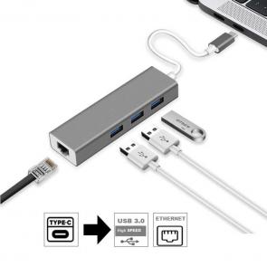 Sunline 1706904 Type C 3X USB 3.0-1X RJ45 Lan