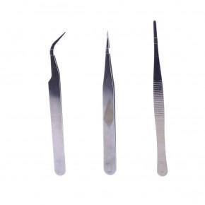 TS-9803 3'lü Metal Cımbız Seti Paslanmaz Çelik (İnce Yuvarlak Kavisli)