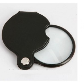 XX1051 50mm Mini Cep Büyüteç - Deri Kaplamalı Katlanabilir 5X