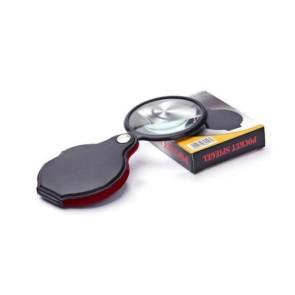 XX1051 60mm Cep Büyüteç - Katlanabilir Deri Kaplamalı 5X